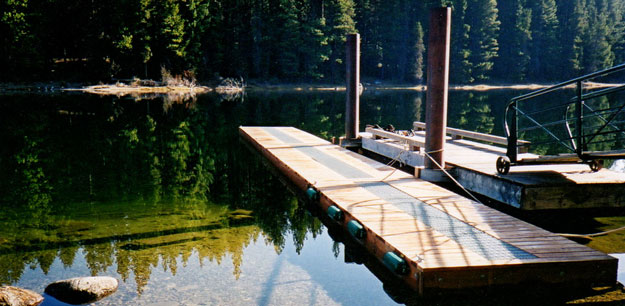 Floating boat dock in Lake Wenatchee.