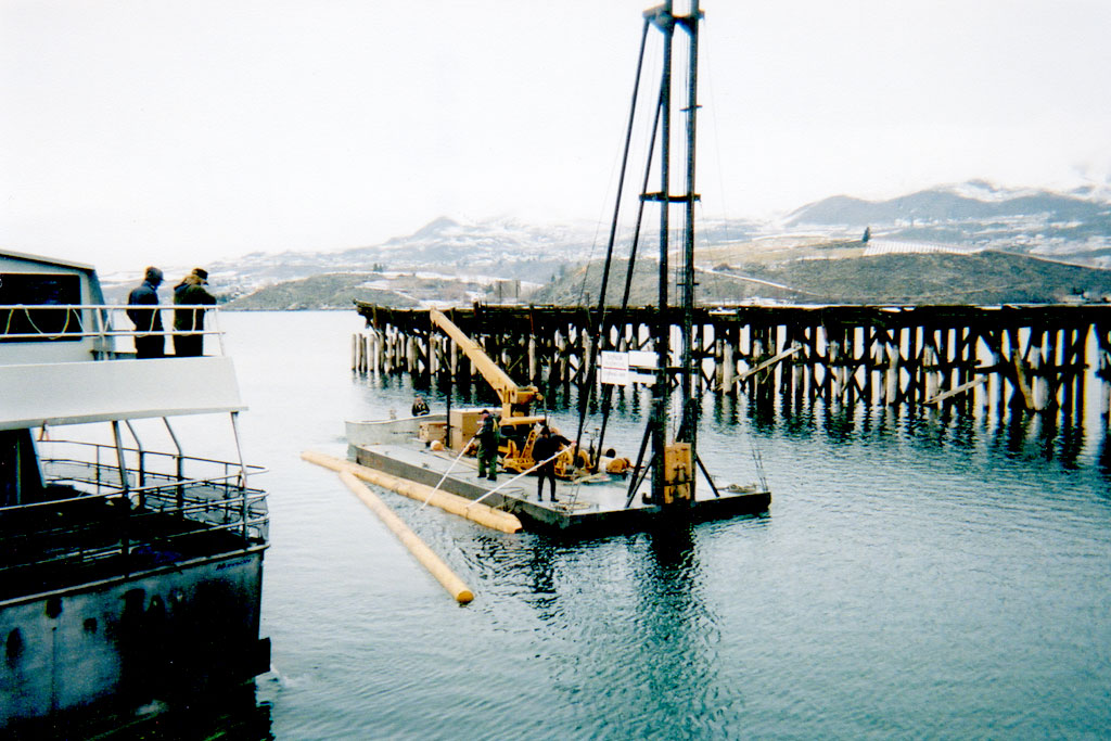Lake side, mobile pile driving. Lake Chelan.